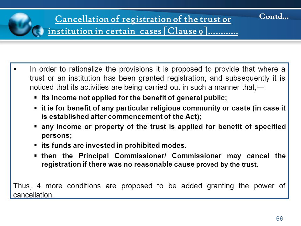 Cancellation of registration of the trust or institution in certain cases [Clause 9]…………